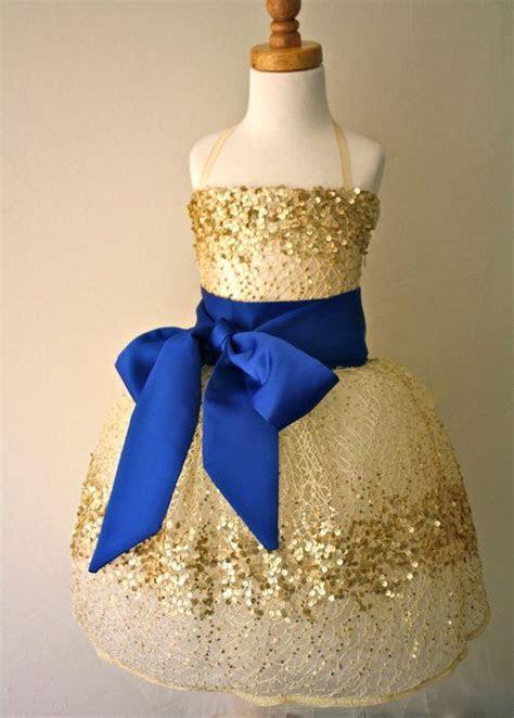 cream, blue & gold flower girl dresses   Gold