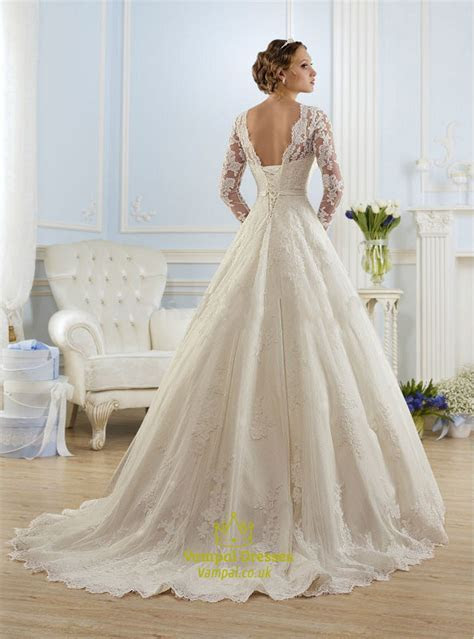 Illusion Long Sleeve Open Back Lace A Line Ball Gown