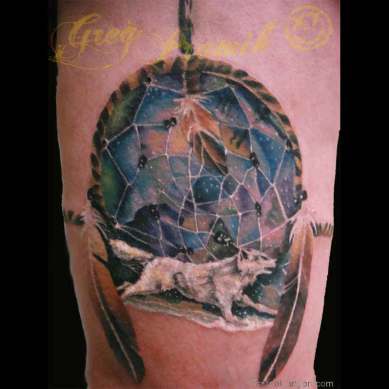 White Wolf N Dream Catcher Tattoo Design Tattoos Book 65000