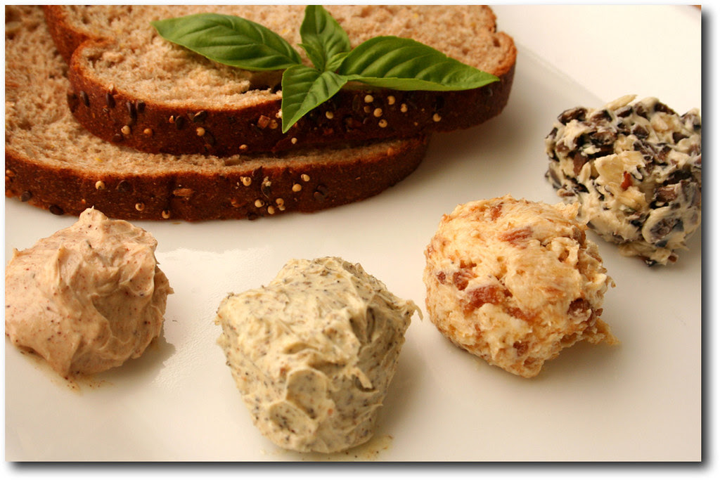 Flavored Butter from left to right bottom are Sweet Butter, Spicy Butter, Fruit Butter and Olive Garlic Butter