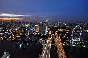 Marina Bay Sands Skypark night panorama Singap...