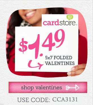 $1.49 Valentine's Day Cards + Free Shipping at Cardstore! Use Code: CCA3131, Valid thru 11:59pm PST