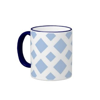Light Blue Diamonds on White Mugs