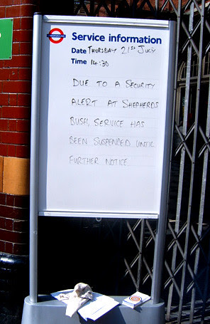 Sign outside the Hammersmith and City Line