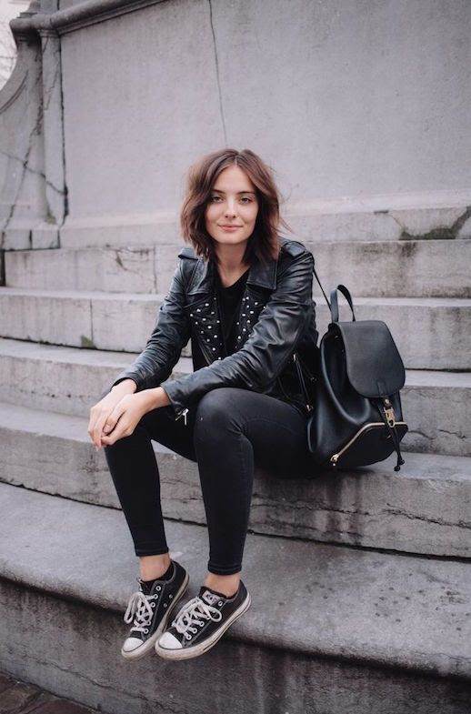 Le Fashion Blog Ways To Wear Black Converse Sneakers Short Hair Studded Leather Jacket Backpack Skinny Jeans Blogger Style Via Polienne