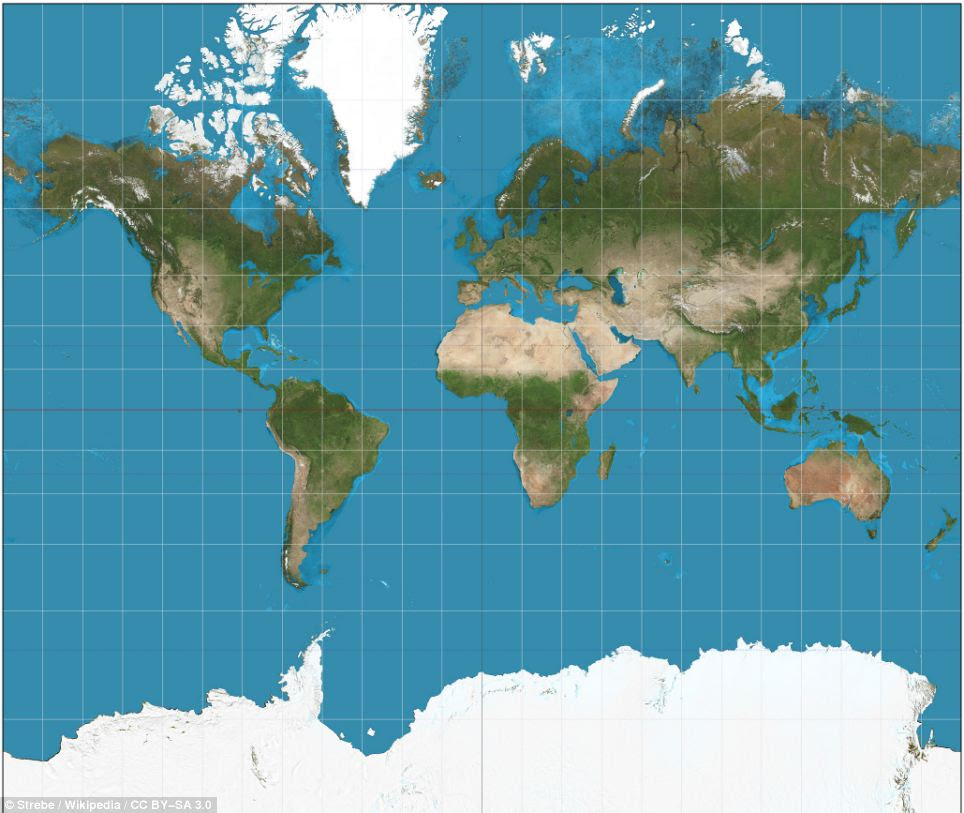 The Mercator projection, the map most commonly seen hanging in classrooms and in text books, was created in 1596 to help sailors navigate the world. The familiar map gives the right shapes of land masses, but at the cost of distorting their sizes in favour of the wealthy lands to the north