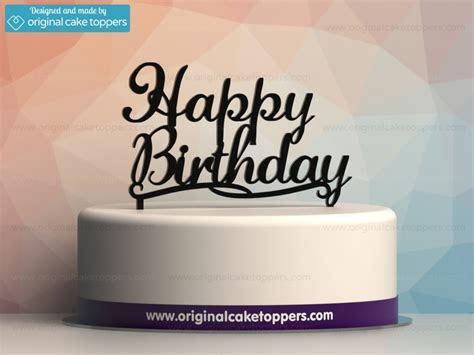 """Happy Birthday"" Classic   Black   Birthday Cake Topper"