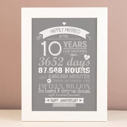 10th Tin Wedding Anniversary Gifts   GettingPersonal.co.uk