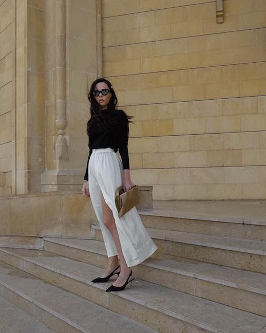 Le Fashion Blog Date Night Outfit Black Sweater White Silk Midi Skirt Black Slingback Pumps Via @Styleheroine