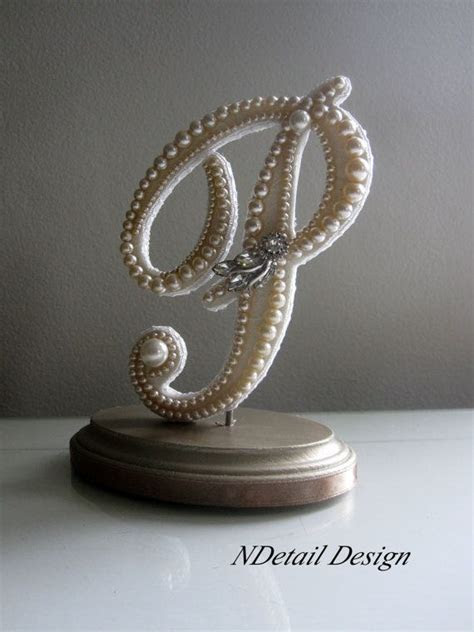 Wedding Cake Topper Monogram Letter P in Ivory Pearls and