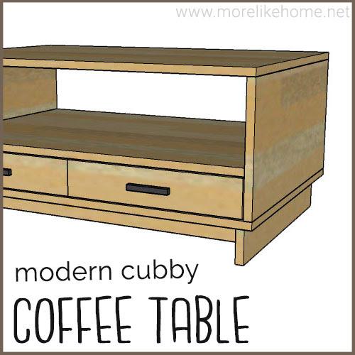 diy coffee table building plan modern minimalist cubby drawers easy beginner