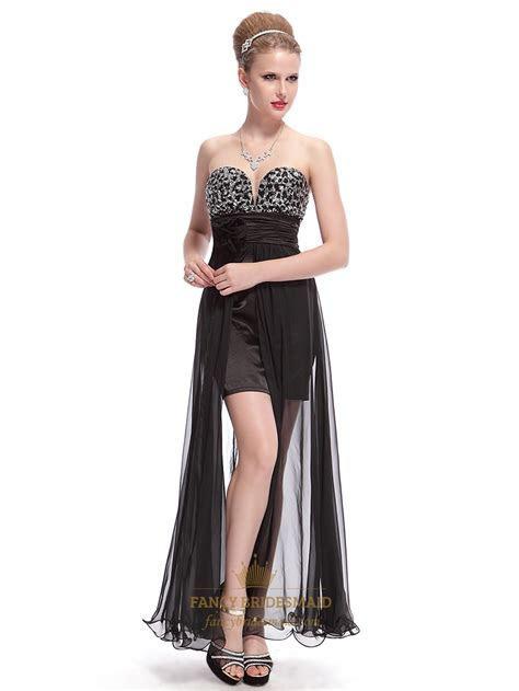 Black Chiffon Beaded Bodice Short Prom Dress With Long