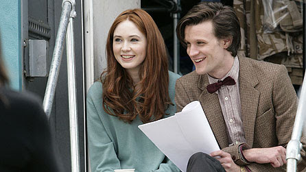 Matt Smith and Karen Gillan on the Doctor Who set (BBC Press Pack)