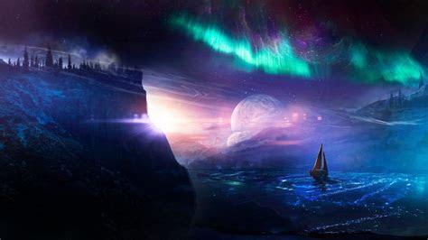 Sailboat Under The Aurora Borealis   Fantasy Art Wallpaper