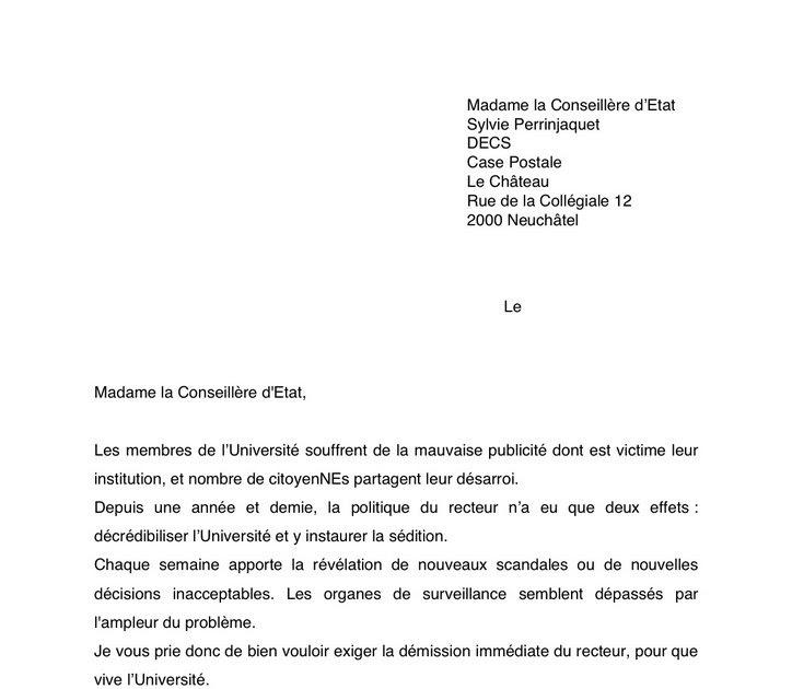 lettre de d mission suisse job application letter. Black Bedroom Furniture Sets. Home Design Ideas