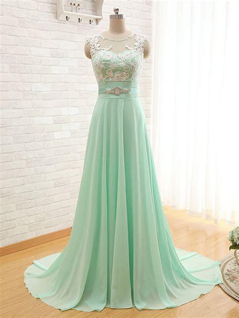 Elegant Chiffon A line Lace Prom Dress 2017 Zipper