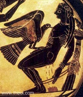 Prometheus, Titan helper of mankind | Laconian black figure amphoriskos C6th B.C. | Vatican City Museums