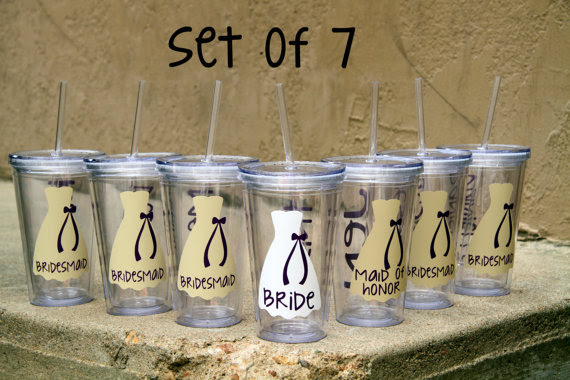 Set Of 7 Personalized Bride Bridesmaid Junior Bridesmaid Flower