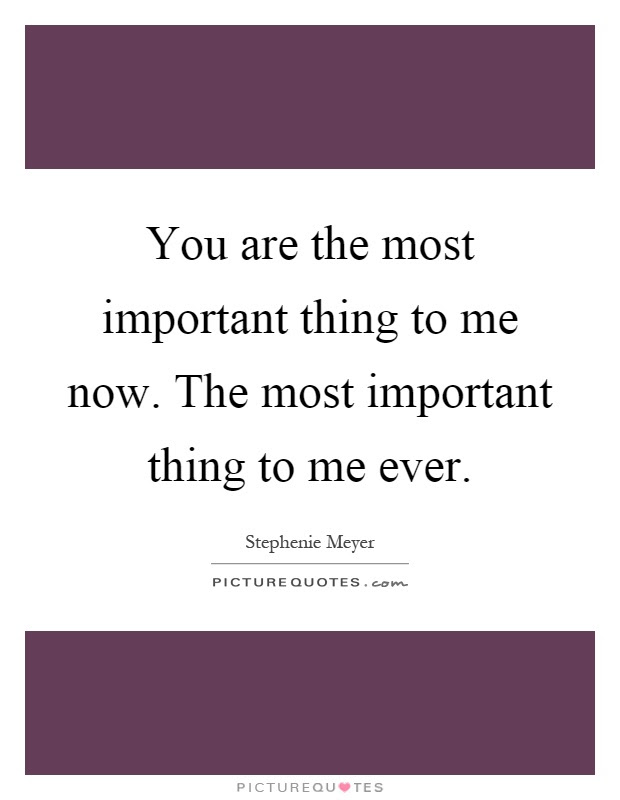 You Are The Most Important Thing To Me Now The Most Important