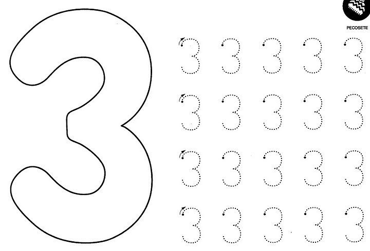 number three coloring and tracing worksheets 40