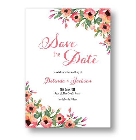 Floral Save The Date Cards Australia   Rachael Ree