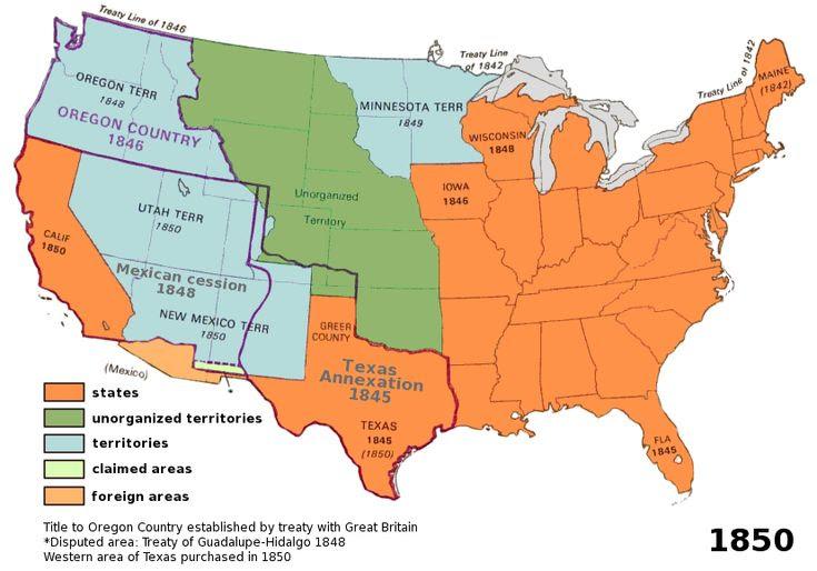 Us Map 1850 Territorial
