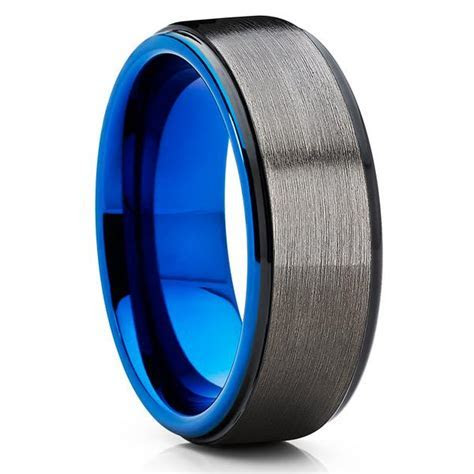 Blue Tungsten Wedding Band   Gunmetal Ring   Gray Tungsten
