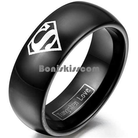 8mm Black Tungsten Carbide Ring Silver Superman Symbol