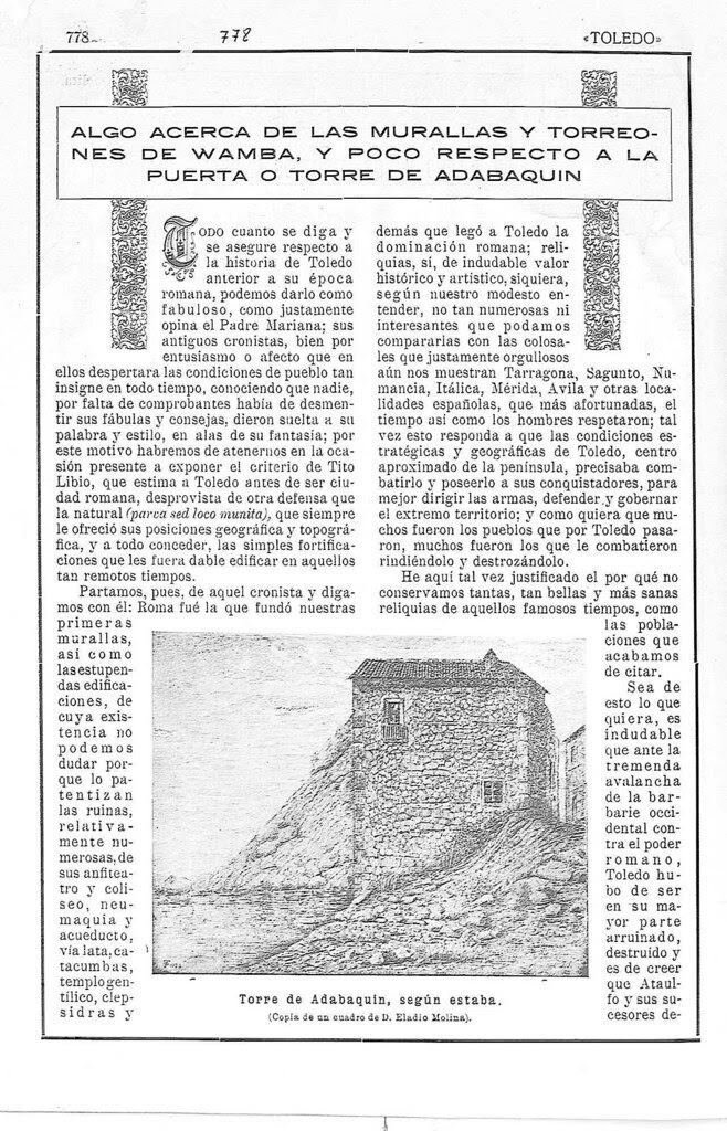 Artículo de Javier Soravilla sobre la Torre del Hierro en 1923. Revista Toledo. Página 1
