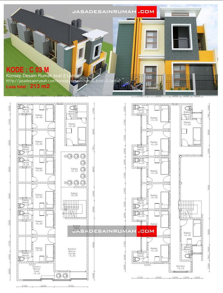 Konsep Desain Rumah Kost 2 Lantai @ Jasa Desain Rumah