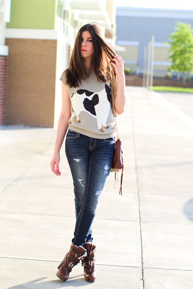 American Eagle Ripped Jeans, Dolce Vita Shearling boots