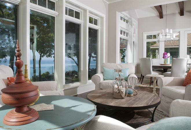 Lakefront Cottage with Coastal Interiors  Home Bunch Interior Design Ideas