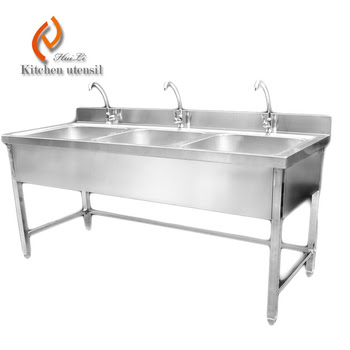 Triple bowls stainless steel kitchen sink cabinet with ...
