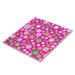 Pink Flower Power Large Square Tile