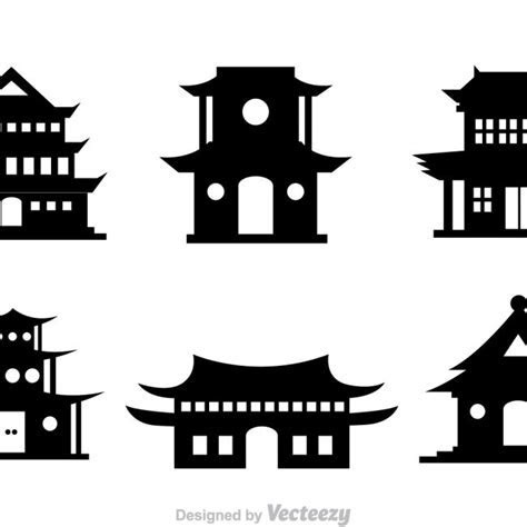 Free vector Chinese Temple Black Vector Icons #10087   My
