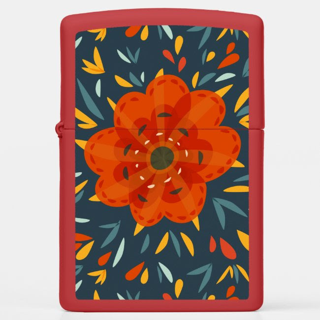 Decorative Whimsical Orange Flower
