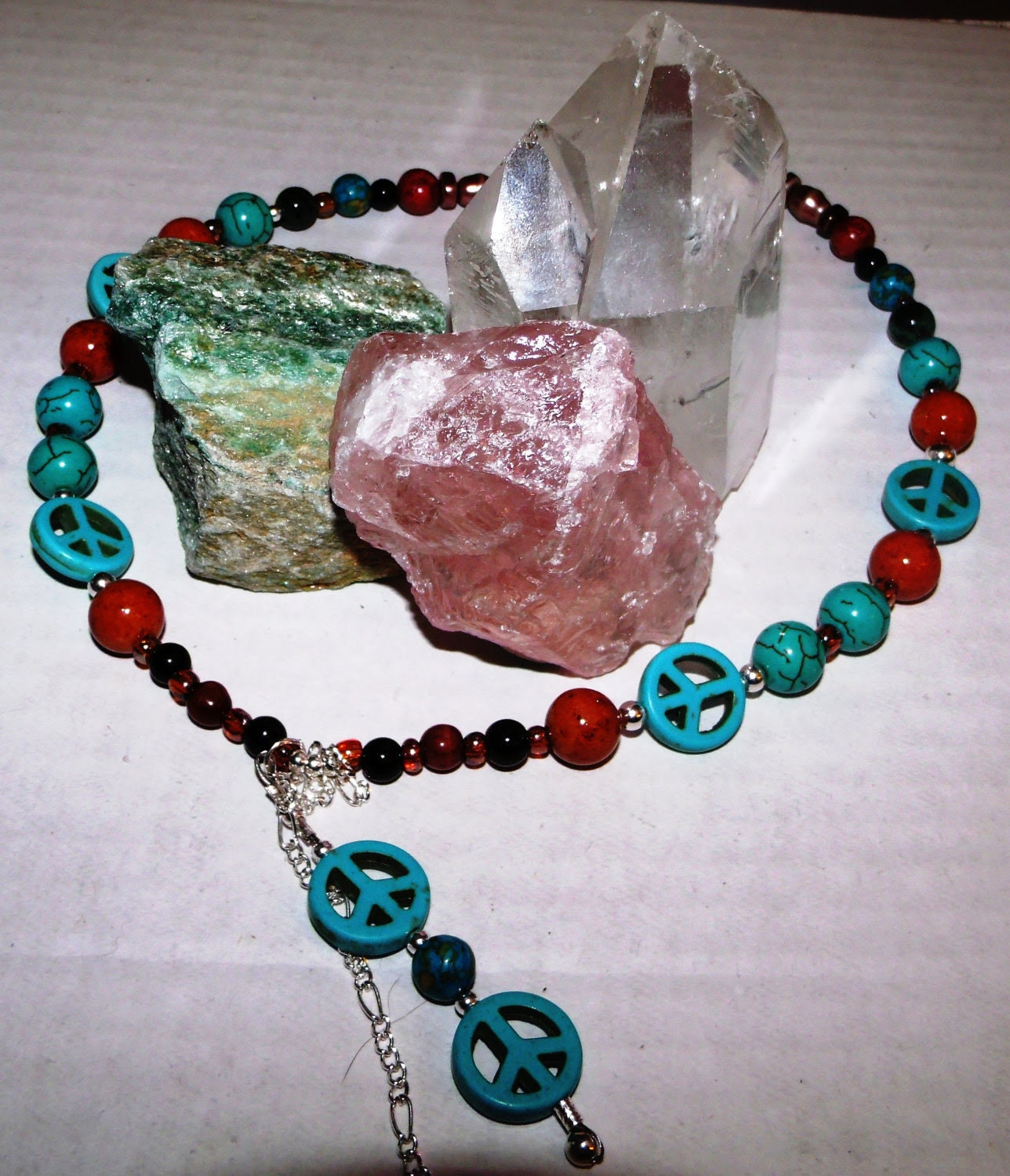 Semi Precioius Stone Bead Peace Necklace Genuine Turquoise Jasper Carnelian and Coral Beads OOAK Natural Crystals