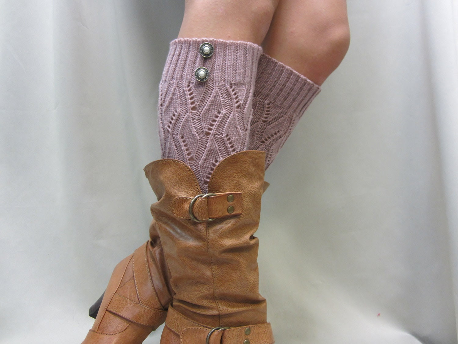 NEW Open crochet knit leg warmers MAUVE  / womens leaf knit pattern  great with cowboy boots by Catherine Cole Studio legwarmers