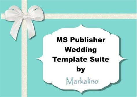 MS Publisher Wedding Invitation Template Suite in Tiffany
