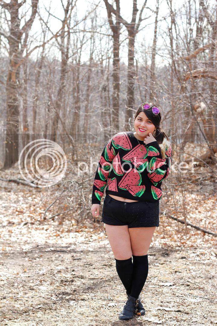 plus size fashion watermelon crop sweater short shorts denim knee highs plus size toronto canada buckle boots sunglasses