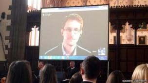 Edward Snowden on video link at Bute Hall