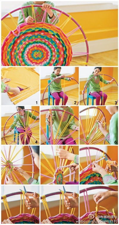 How to use recycled cloth and hula hoop to make colorful mat step by step DIY tutorial instructions
