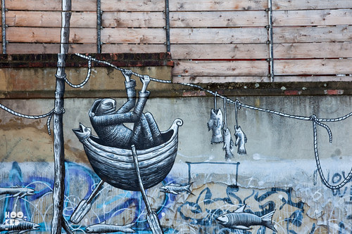 London street art mural by artist Phlegm on Heneage Street