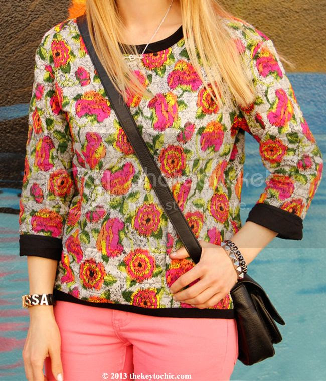 Zara quilted floral top, Cheap Monday pink skinny jeans, Mossimo Viveca glitter pumps, L.A. fashion blog