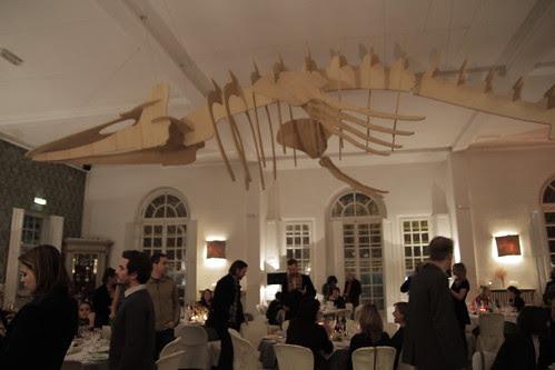 Big skeletal monster hanging overhead