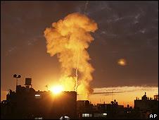 Ataque aéreo israelí en Gaza, foto archivo.