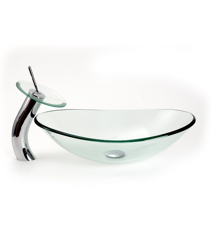 Frostedclear Oval Vessel Sink With Standardwaterfall Faucet Combo