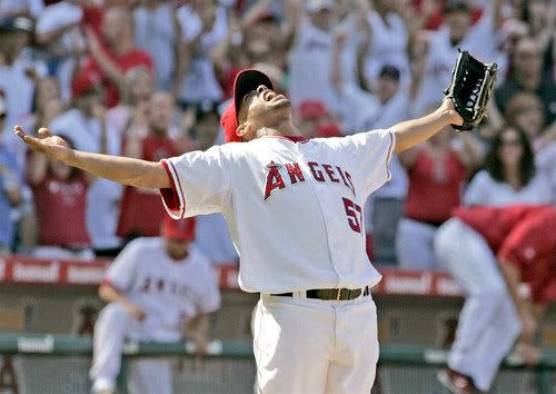 The Angels' Francisco Rodriguez reacts after striking out New York's Hideki Matsui Wednesday at Angel Stadium to wrap up a 4-2 victory over the Yankees.