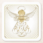 Framed Golden Filigree Christmas Angel of Grace Square Paper Coaster