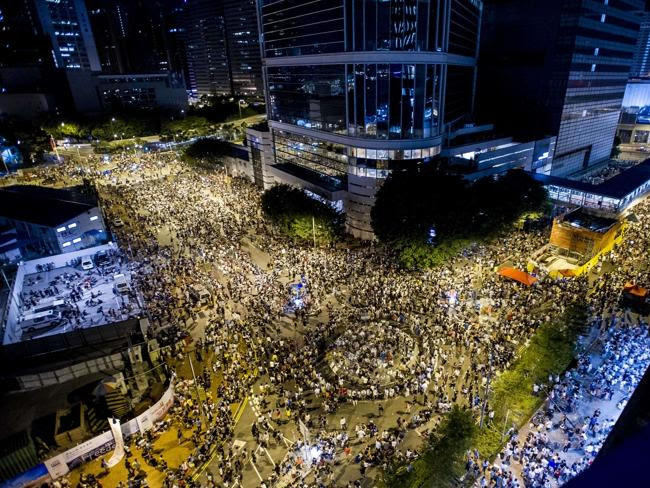 Huge protest ... thousands of pro-democracy activists gathered outside headquarters of th